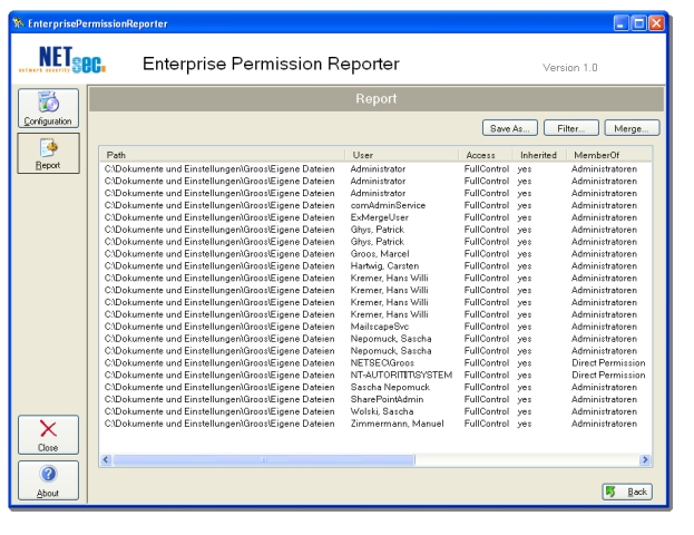 auditing permissions, network, reporter, analyzes security, share security, dfs